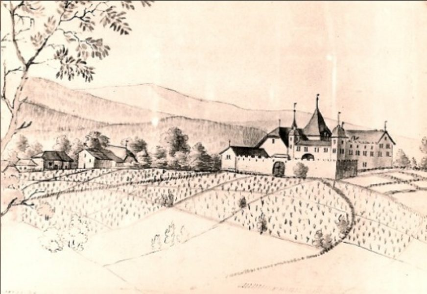 Vue de la Maison forte de Disnens (Denens) avant l'incendie de 1600